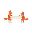 red cute foxes holding empty banner placard vector image