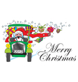 santa claus with car and gifts vector image