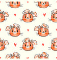 seamless pattern with cute fase of cats and bows vector image vector image