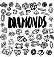 set free hand diamond vector image vector image