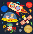 set of animals in space part 3 vector image vector image