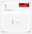Simple 2014 calendar December vector image vector image