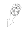 sketch of the flying football ball with flames and vector image vector image