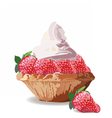 Tart cake with strawberry and cream vector image