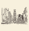 Times Square street in New York city engraving vector image vector image