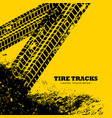 tire tracks marks on grunge yellow background vector image vector image