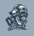 trendy dj skull in cap and headphones and dynamic vector image vector image
