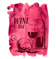 Watercolor background with wine glasses and bottle vector image vector image