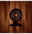 Web camera icon Wooden texture vector image