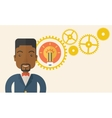 Company officer with gear and bulb vector image