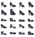 set of womens shoes black silhouette hand vector image