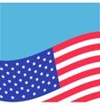 Waving American flag frame Blue background vector image