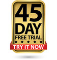 45 day free trial try it now golden label vector image vector image