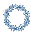 a circle frame leaves floral blue vector image