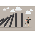 Business woman run away from domino effect vector image vector image