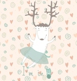 Card with cute deer vector image