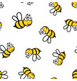 cartoon bee icon seamless pattern background vector image