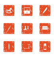 child advance icons set grunge style vector image
