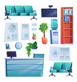 clinic interior objects furniture medical list vector image vector image