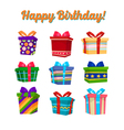 Colorful Gift Boxes and Presents Set with Ribbons vector image
