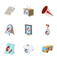 Contextual advertising icons set cartoon style vector image vector image
