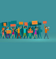crowd of people with banners walking on public vector image vector image