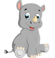 cute baby rhino sitting vector image vector image