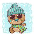 cute cartoon teddy bear in a knitted cap sits on vector image vector image