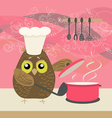 cute owl with a bawl vector image vector image