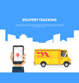 delivery tracking banner hand holding smartphone vector image vector image