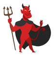 devil with trident in black cloak evil character vector image