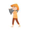 elderly man carries a bag on his shoulder vector image vector image