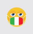 emoji medical mask shaped like an italian flag vector image vector image