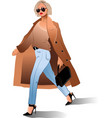 girl sunglasses coat bag fashion beauty vector image