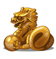 golden figure of dragon chinese horoscope symbol vector image