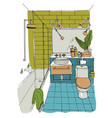 hand drawn modern bathroom interior design vector image vector image