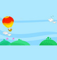 hot air balloon in sky landscape vector image vector image