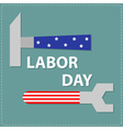 Labor day Wrench key and hammer with star stip vector image
