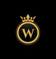 letter w royal crown luxury logo design vector image vector image