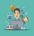 man digital marketing advertising work vector image vector image