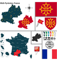 Map of Midi Pyrenees vector image vector image
