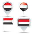 Map pins with flag of Yemen vector image vector image