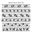 Medieval Floral Border Set vector image