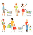 peoples shopping of various vector image vector image