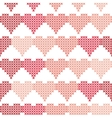 Seamless pattern with embroidered hearts vector image