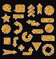 set of gold glitters signs and arrows vector image