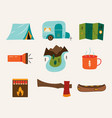 set travel and hiking adventure elements vector image