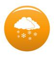 snow cloud holiday icon orange vector image
