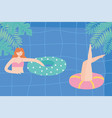 summer pool with girls and inflatable playful vector image