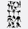 thai boxer and wrestling silhouette vector image